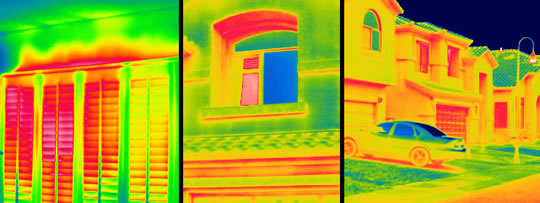 infrared analysis camera looking at neighborhood houses
