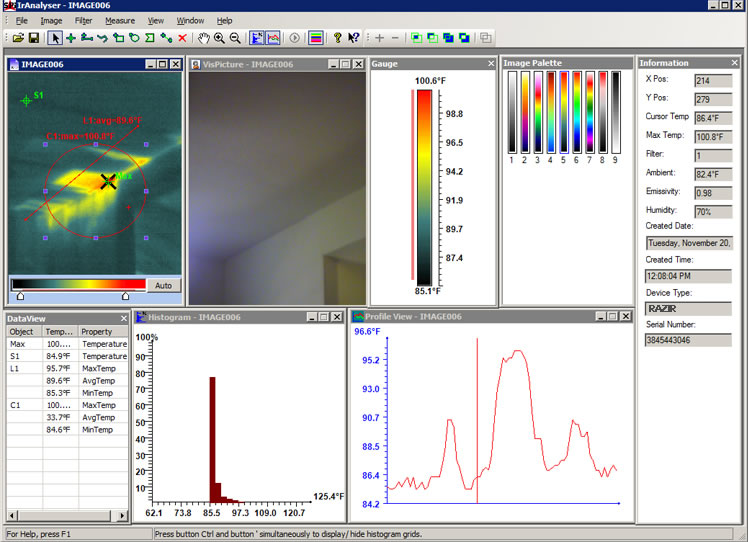 RAZ-IR industrial thermal camera software interface