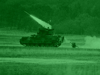 US army tank & Soldier firing missle