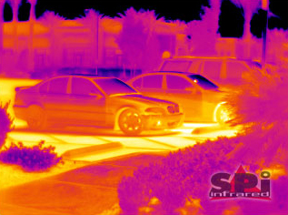 thermal image of a BMW