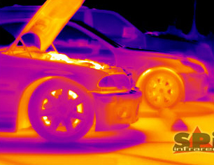thermal image of a BMW with the hood up