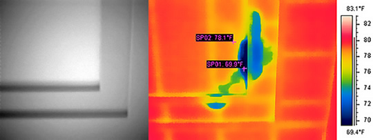 infrared image study of ceiling moisture