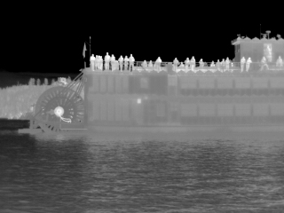 thermal image of a boat